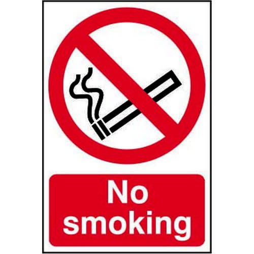 Self adhesive semi-rigid PVC No Smoking Sign (200 x 300mm). Easy to fix  simply peel off the backing