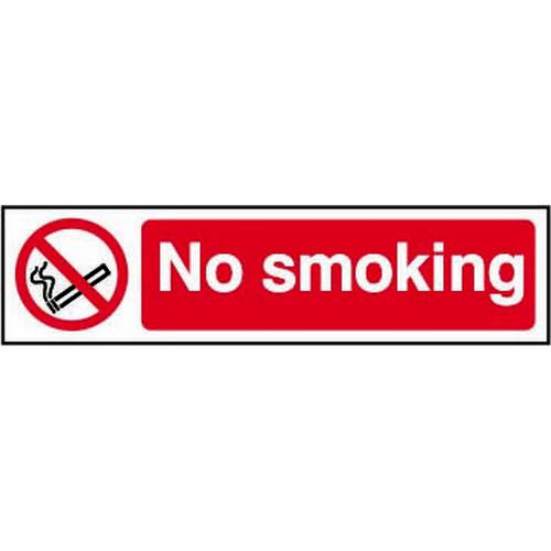Self adhesive semi-rigid PVC No Smoking Sign (200 x 50mm). Easy to fix  simply peel off the backing