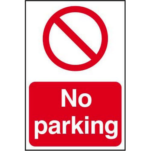 Self adhesive semi-rigid PVC No Parking Sign (400 x 600mm). Easy to fix  simply peel off the backing