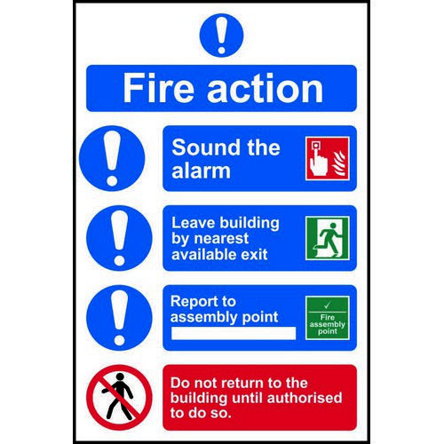 Fire Action Procedure sign (200 x 300mm). Manufactured from strong rigid PVC and is non-adhesive  0.