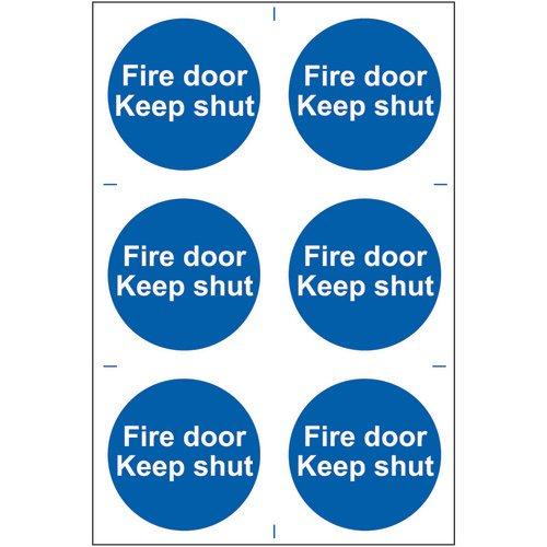 Self adhesive semi-rigid PVC Fire Door Keep Shut Sign (200 x 300mm). Easy to fix  peel off the backi