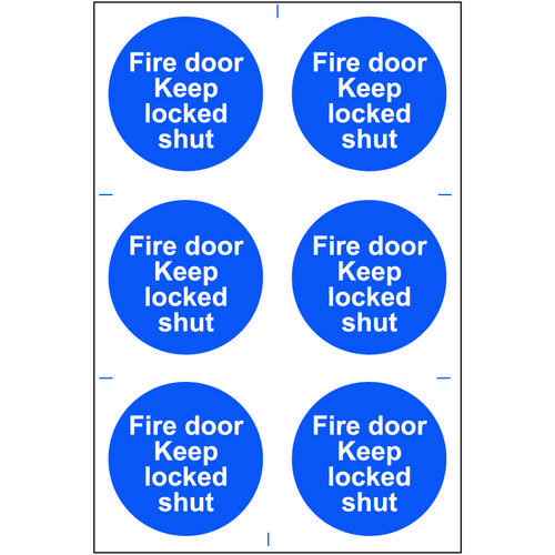 Self adhesive semi-rigid PVC Fire Door Keep Locked Shut Sign (200 x 300mm). Easy to fix  peel off th Fire Safety Signs IB1646
