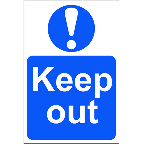 Self adhesive semi-rigid PVC Keep Out Sign (200 x 300mm). Easy to fix  peel off the backing and appl