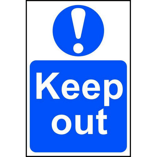 Self adhesive semi-rigid PVC Keep Out Sign (400 x 600mm). Easy to fix  peel off the backing and appl
