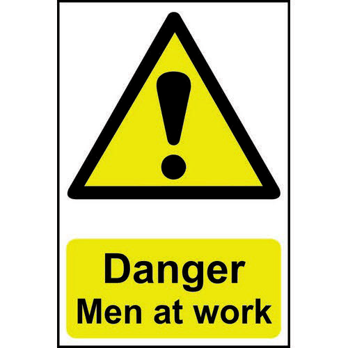 Self adhesive semi-rigid PVC Danger Men At Work Sign (400 x 600mm). Easy to fix  peel off the backin