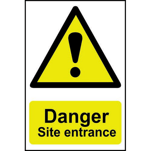 Self adhesive semi-rigid PVC Danger Site Entrance Sign (400 x 600mm). Easy to fix  peel off the back
