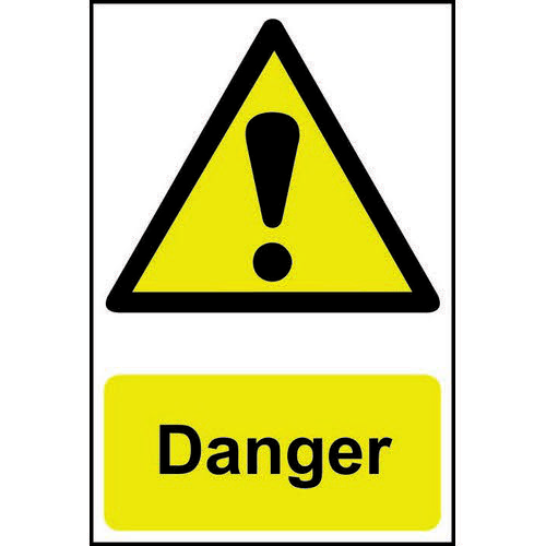 Self adhesive semi-rigid PVC Danger Sign (200 x 300mm). Easy to fix  peel off the backing and apply