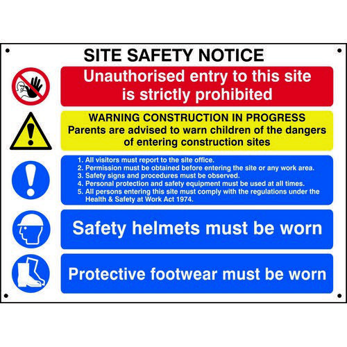 Composite Site Safety Notice Sign (800 x 600mm). Manufactured from strong non-adhesive rigid foamed