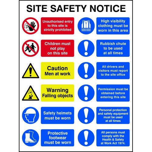 Composite Site Safety Notice Sign (600 x 800mm). Manufactured from strong non-adhesive rigid foamed