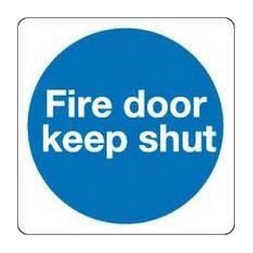 Fire Door Safety Sign Keep Shut 100x100mm Self-Adhesive