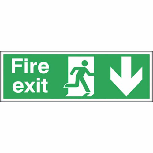Fire Exit Safety Sign Running Man Arrow Down 150x450mm Self-Adhesive