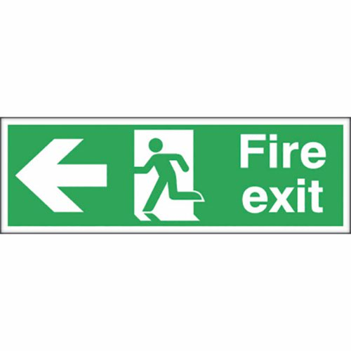 Fire Exit Safety Sign Running Man Arrow Left 150x450mm Self-Adhesive