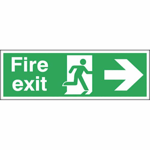 Fire Exit Safety Sign Running Man Arrow Right 150x450mm Self-Adhesive