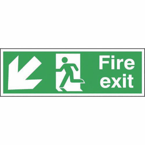 Safety Sign Fire Exit Running Man Arrow Down Left 150x450mm Self-Adhesive