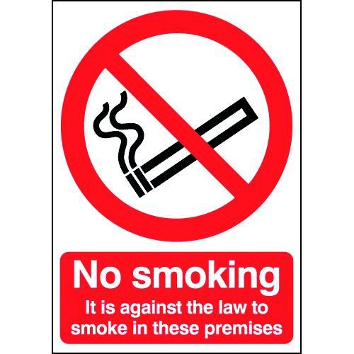 No Smoking 200x148mm A5 Self-Adhesive Vinyl