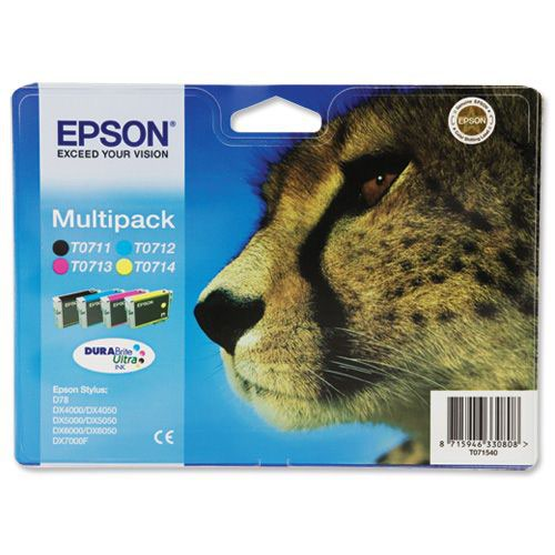 Epson Cheetah 4 Pack Ink Cartridges Black; Cyan; Magenta; Yellow T0715