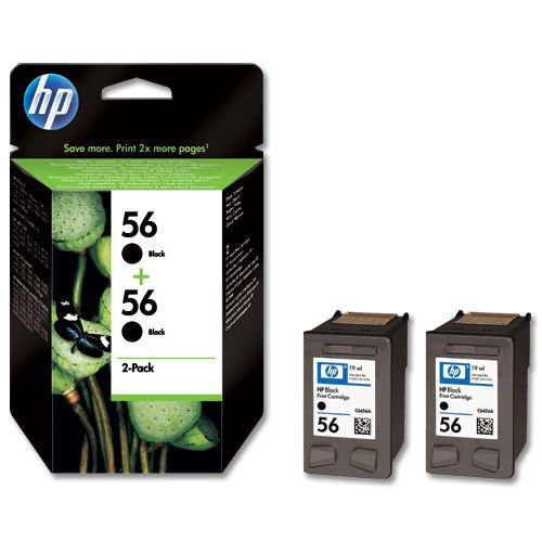 Hewlett Packard No 56 Inkjet Cartridge Black Twinpack Pack 2 C9502A Inkjet Cartridges IJ9564