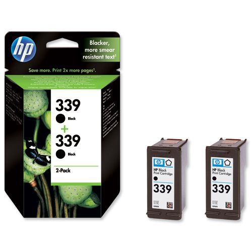 Hewlett Packard No 339 Ink Cartridge Black Twin Pack C9504EE