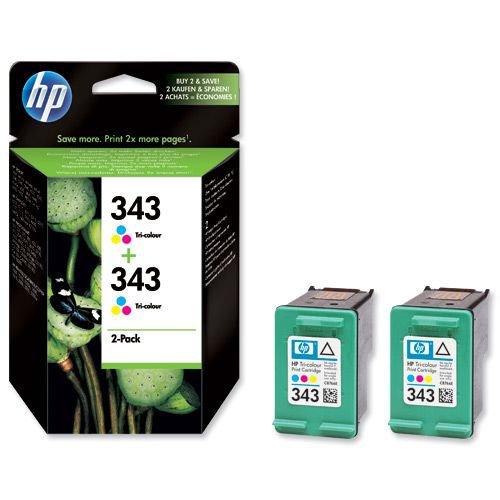 Hewlett Packard 343 InkJet Vivera Tri-colour Pack 2 CB332EE