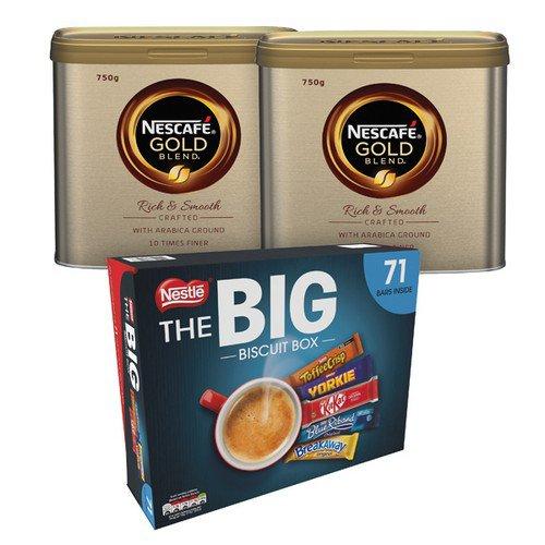 Nescafe Gold Blend 750g 2pk Foc Biscuits