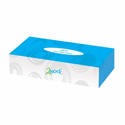 2work Facial Tissue Cream Box 100 Tissues Per Box Pack 36