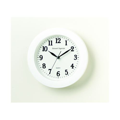 White Plastic Wall Clock 27cm Dia Batteries Not Included