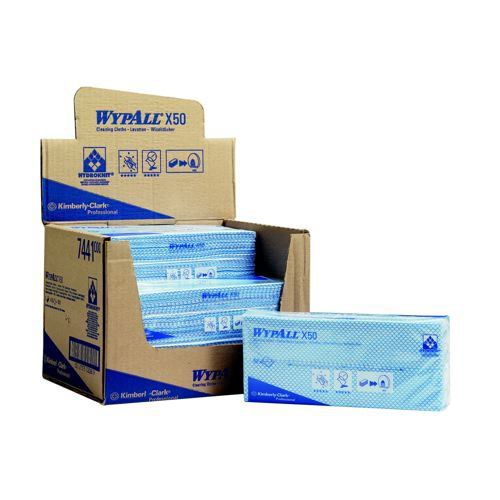 Wypall X50 Cleaning Cloths Absorbent Strong Non-Woven Tear-Resistant Blue Pack 50