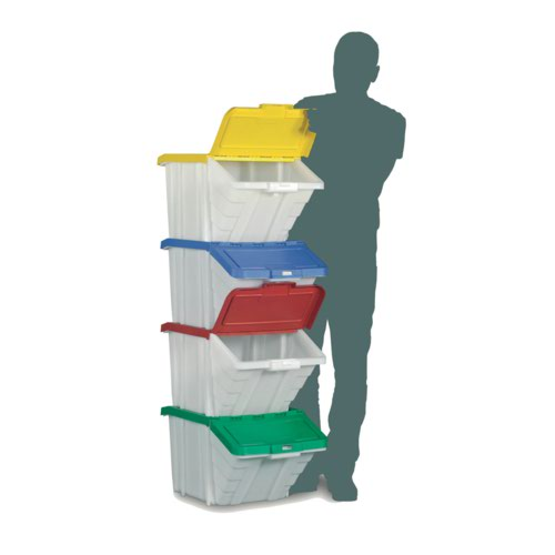 Multi-Functional Containers Mix Colour Lids Pack 4