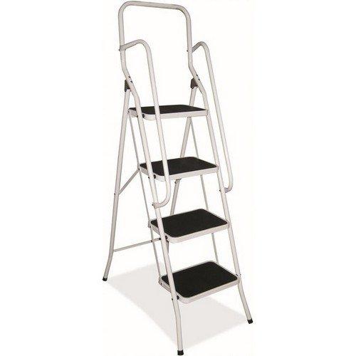 Folding Step Ladders 4 Tread Silver Grey  Open H1290xW490xD830mm Closed H1475xW145xD490mm