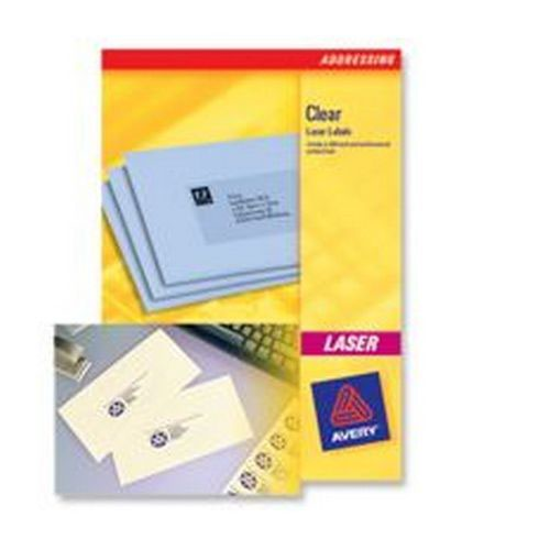 Avery Clear Laser Labels 22x12.7mm 48 Per Sheet 1200 Labels