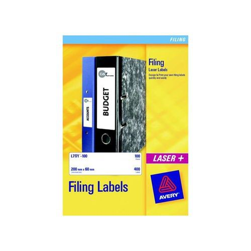 Avery Filing Labels Inkjet Lever Arch 4 per Sheet 200x60mm 100 Labels