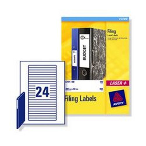 Avery Laser Labels Eurofolios & Filing 134x11mm 24 Per Sheet White 600 Labels Pack 25