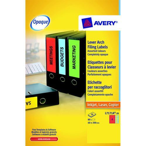 Avery Colour Laser Labels Lever Arch File 200x60mm 4 Per Sheet 80 Labels Assorted Pack 20