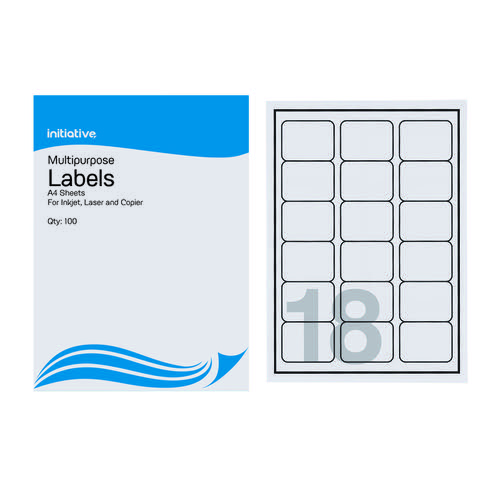 Initiative Multipurpose Labels 63.5 x 46.6mm 18 per Sheet Pack 100