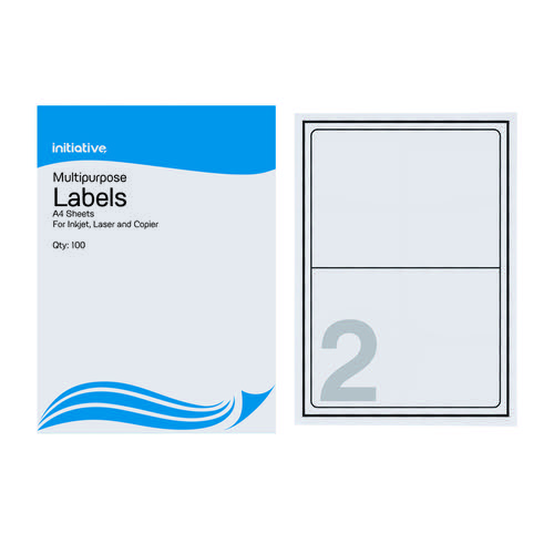 Initiative Multipurpose Labels 199.6 x 143.5mm 2 Per Sheet Pack 100