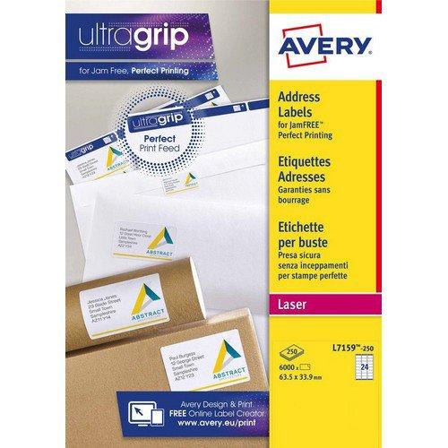 Avery Laser Labels 64mmx34mm 24 per Sheet White 6000 Labels FSC