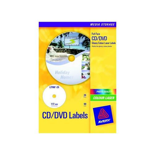 Avery Full Face CD/DVD Photo Quality Glossy Labels 2 Per Sheet