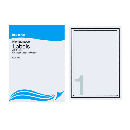 Initiative Multipurpose Labels 199.6 x 289.1mm 1 per Sheet Pack 100