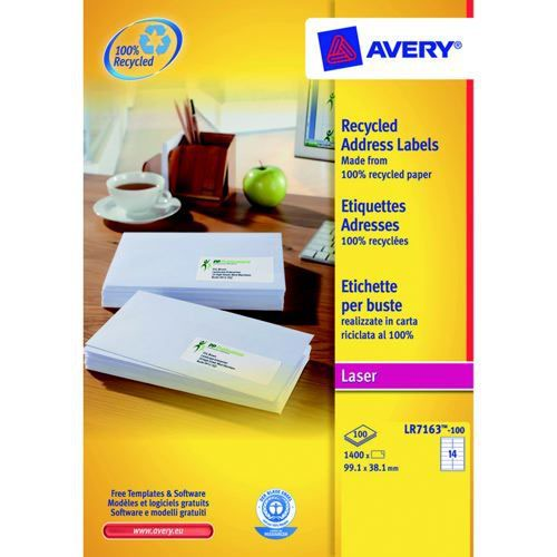 Avery Recycled Address Laser Labels 14 Per Sheet White Pack 100