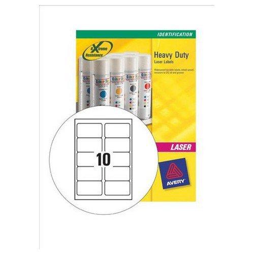 Avery Heavy Duty Labels Laser 10 per Sheet 96x50.8mm Silver 200 Labels