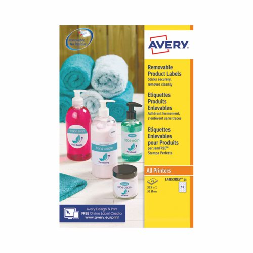 Avery White Removable Laser Labels Round 25mm  Pack 25