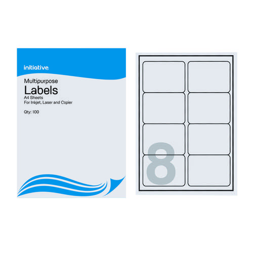 Initiative Multipurpose Labels 99.1 x 67.7mm 8 Labels Per Sheet Pack 100