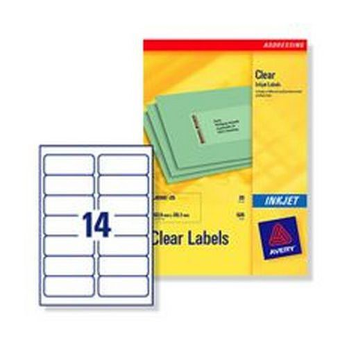 Avery Clear Addressing Labels 14 per Sheet 99.1x38.1mm 350 Labels