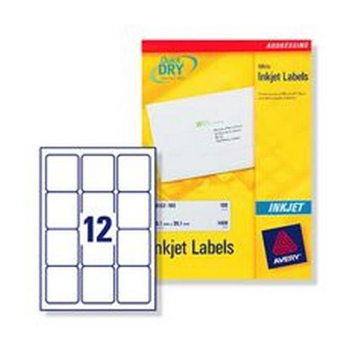 Avery Inkjet Address Labels 12 Per Page Labels 63.5x72mm White 100 Sheets