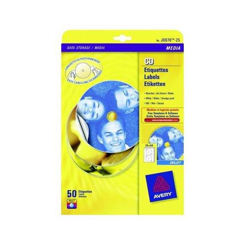 Avery Inkjet CD/DVD Full Face Labels 2 Per Sheet Matt 50 Labels