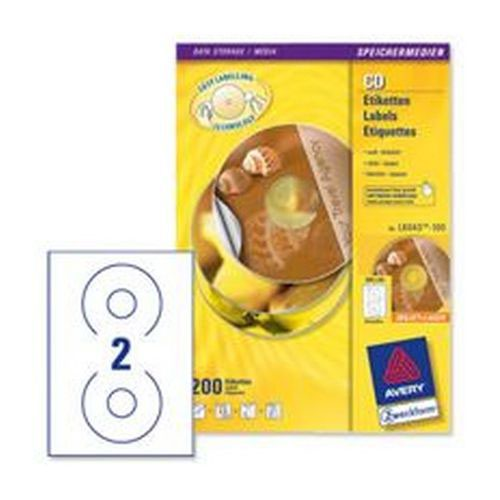 Avery CD/DVD Labels Laser 2 per Sheet Dia.117mm Classic Size Pack 100 Sheets