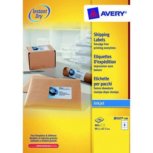 Avery Inkjet Labels 99.1x67.7mm 8 Per Sheet White 800 Labels