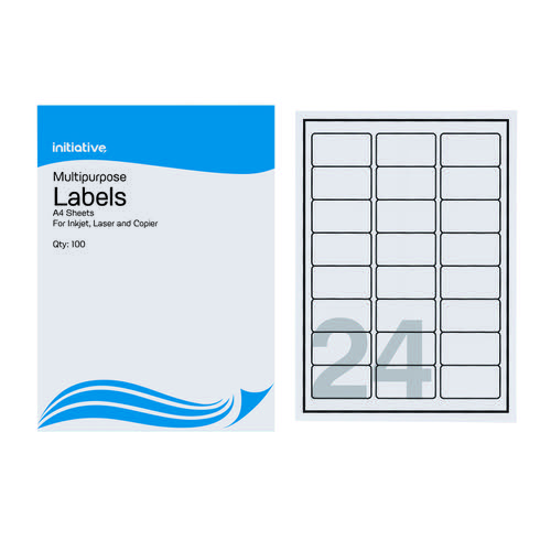 Initiative Laser and Inkjet Labels 64 x 34mm 24 per Sheet Pack 100