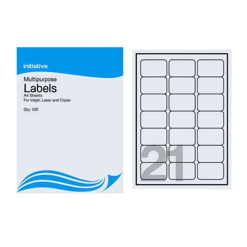 Initiative Multipurpose Labels 63.5 x 38.1mm 21 per Sheet Pack 100