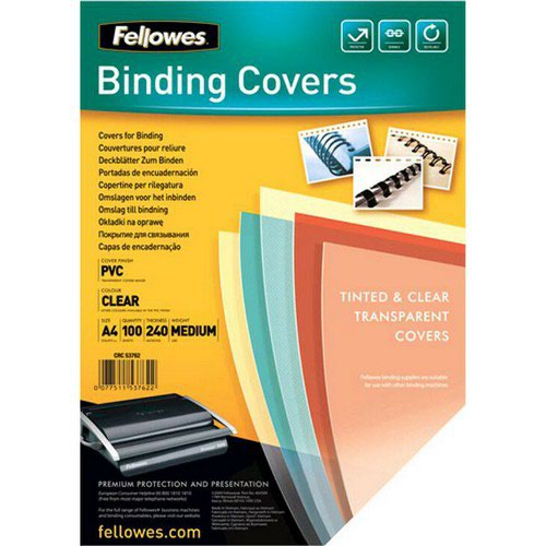 Fellowes Transparent Plastic Covers 240micron Box 100